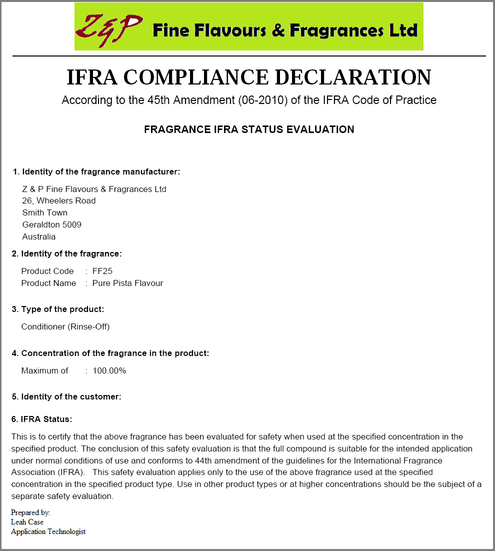 Documentation configuration and generation in pistachio for Compliance statement template
